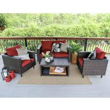 Storage Bags For Patio Cushions Leisure Made Draper 4 Piece Wicker Patio Conversation Set With Tan