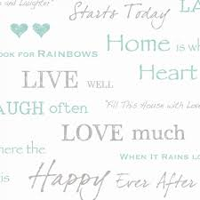 fine decor sample wall words live love laugh white grey teal