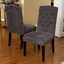 Tufted Dining Chair Set Clark Grey Fabric Tufted Dining Chair Set Of 2 Tufted