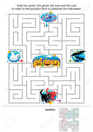 maze game for kids help the spider the ghost the bats and