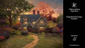 thomas kinkade halloween gingerbread cottage gallery lighting experience youtube