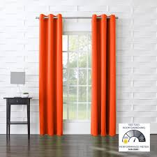 Orange White Curtains Furniture Grommet Curtains With Orange Curtain And Black Ceramic
