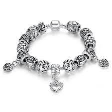 silver bracelet with heart pendant images New design pandora beads antique silver charm bracelet bangle jpg
