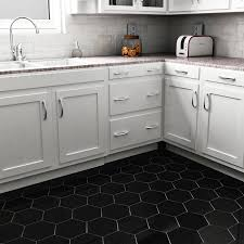 Tile In Kitchen Floor Somertile 7x8 Inch Hextile Matte Black Porcelain Floor And Wall