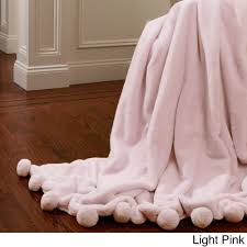 light pink throw blanket aurora home luxe faux fur pom throw blanket free shipping today