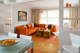 Leather Sofa In Living Room by Outstanding Orange Living Room Ideas With L Shape Leather Sofa And