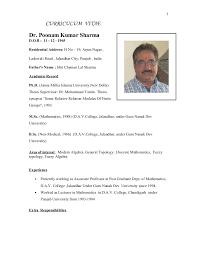 bio data dr p k sharma as on april 2016