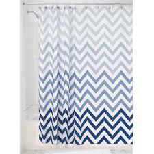 Blue And White Striped Shower Curtain Amazon Com Interdesign Ombre Chevron Fabric Shower Curtain 72