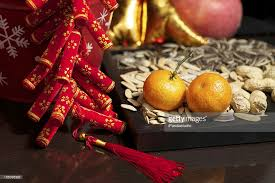 New Year Food Decorations by Lunar New Year Decorations And Food Stock Photo Getty Images