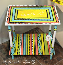 hand painted side table personalize it made with love