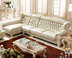 Italian Furniture Living Room New Classic Italian Luxury Living Room White Leather Sofa With