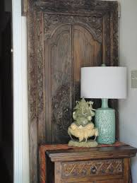 ethnic entryway antique balinese door ganesha wood carving from