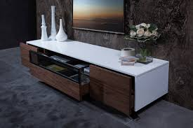 Modern White Tv Table Stand Modrest Gillian Contemporary White U0026 Walnut Tv Stand
