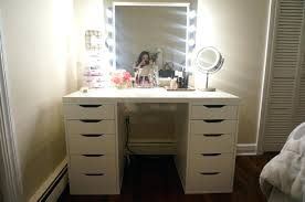 Modern Vanity Table Desk Chic Wall Mounted Mirror And Light With White Wooden