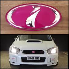 subaru rsti badge genuine jdm pink sti blob eye grille badge scoobynet com