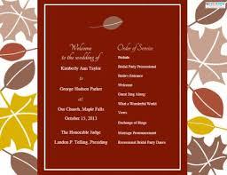 fall wedding programs fall wedding programs