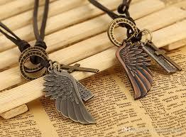 handmade angel necklace images Wholesale 2016 fashion angel wings leather bracelet jewelry jpg