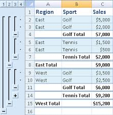 insert subtotals in a list of data in a worksheet excel