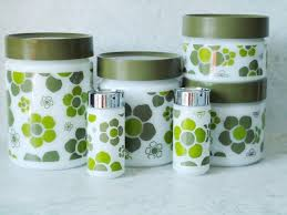 vintage glass canisters kitchen anchor hocking pop glass canister set retro glass canisters