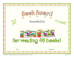 fillable online printable reading award certificate 40 book