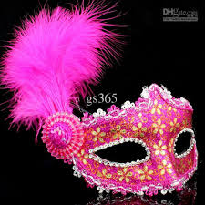 pink masquerade masks 2016 masks gold luxury women leather villus feather venice