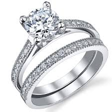 engagement and wedding ring sets 1 25 carat brilliant cz sterling silver 925 wedding