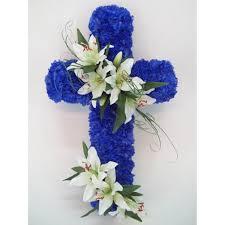 funeral flowers royal blue carnation and cross af015