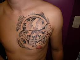 beautiful numerals clock on left side of chest for