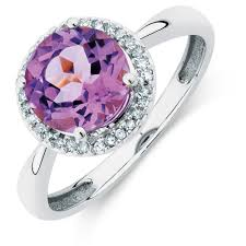 amethyst stone rings images Ring with amethyst diamonds in 10kt white gold jpg