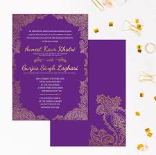 wedding invitations indian purple and gold wedding invitations indian wedding invitations