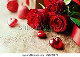 roses and hearts roses hearts on wooden board valentines stock photo 245224078