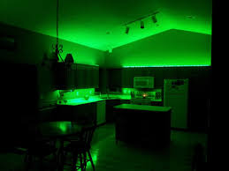 l shape kitchen decoration using green led lamp under cabinet