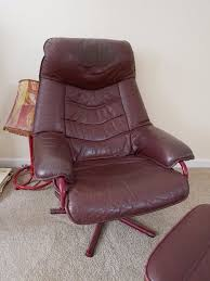 Red Leather Reclining Chair Red Leather Reclining Chair And Footstool In Woodbury Devon