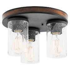 Lowes Ceiling Light Fixture Shop Kichler Barrington 11 5 In W Distressed Black And Wood Flush