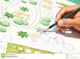 site plan design landscape architect designing on site plan stock photo image