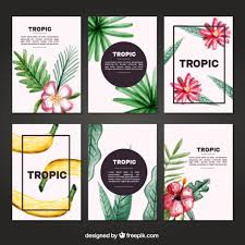 watercolor tropical cards set vector free