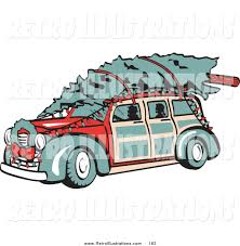 Retro Christmas Lights by Retro Illustration Of An Old Fashioned Red Woodie Car Carrying A