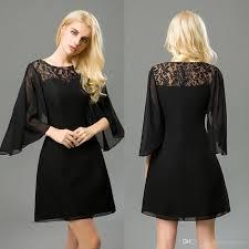 short black prom dresses 2017 long sleeve poet a line lace chiffon