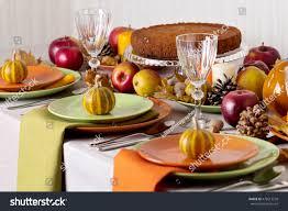 thanksgiving dinner setting thanksgiving dinner seasonal table setting autumn stock photo