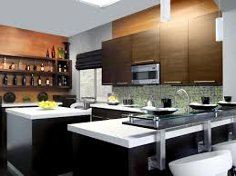 trendy and sleek kitchen with laminate island and pullout faucets