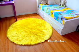Faux Fur Area Rugs by Lemon Yellow Faux Fur Rug Round Luxury Plush Shaggy Thick