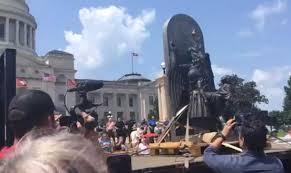 Arkansas Travel Net images Satanic temple trucks in baphomet statue for event calling for jpg