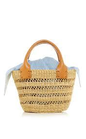 wicker basket with leather handles latticework straw bag with leather handles by muun moda operandi