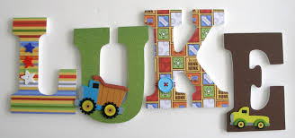 Letter Decorations For Nursery Custom Decorated Wooden Letters Construction Theme Nursery