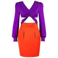 gucci s s 2011 purple orange color block knotted midriff cutout