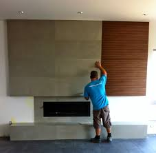 mode concrete contemporary concrete fireplace with flush wood