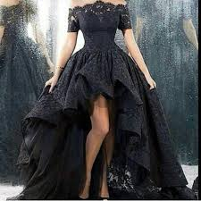 2016 dark high low black lace gothic wedding dresses halloween