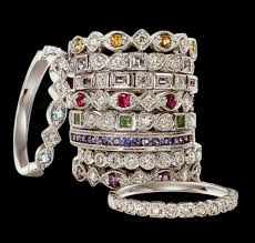 stacked birthstone rings family ring stackable all slightly different from each other