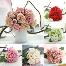 9 heads real touch rose artificial flowers plants bouquet bridal
