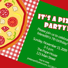 bi fold pizza party invitation card with green and checkred red